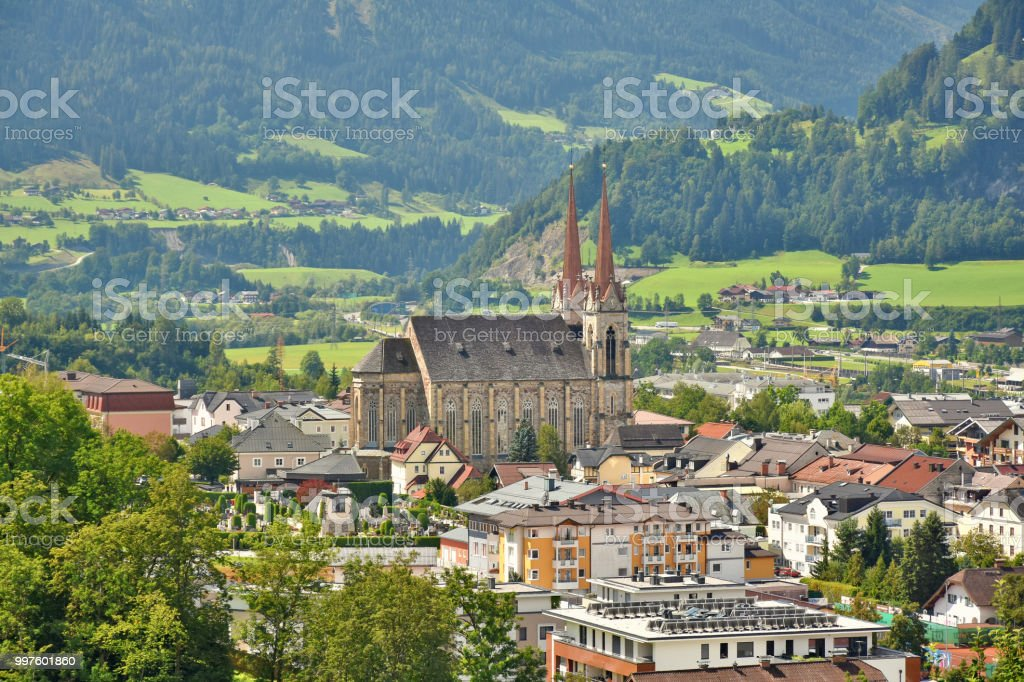 View over Town of St. Johann and church stock photo
