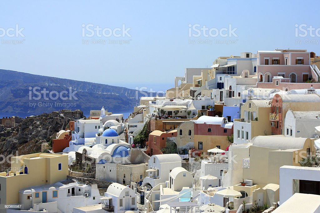 View over town Oia island Santorini, Greece stock photo