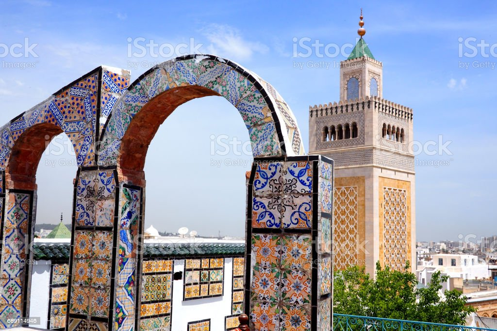 view over tunis medina to the great mosque stock photo