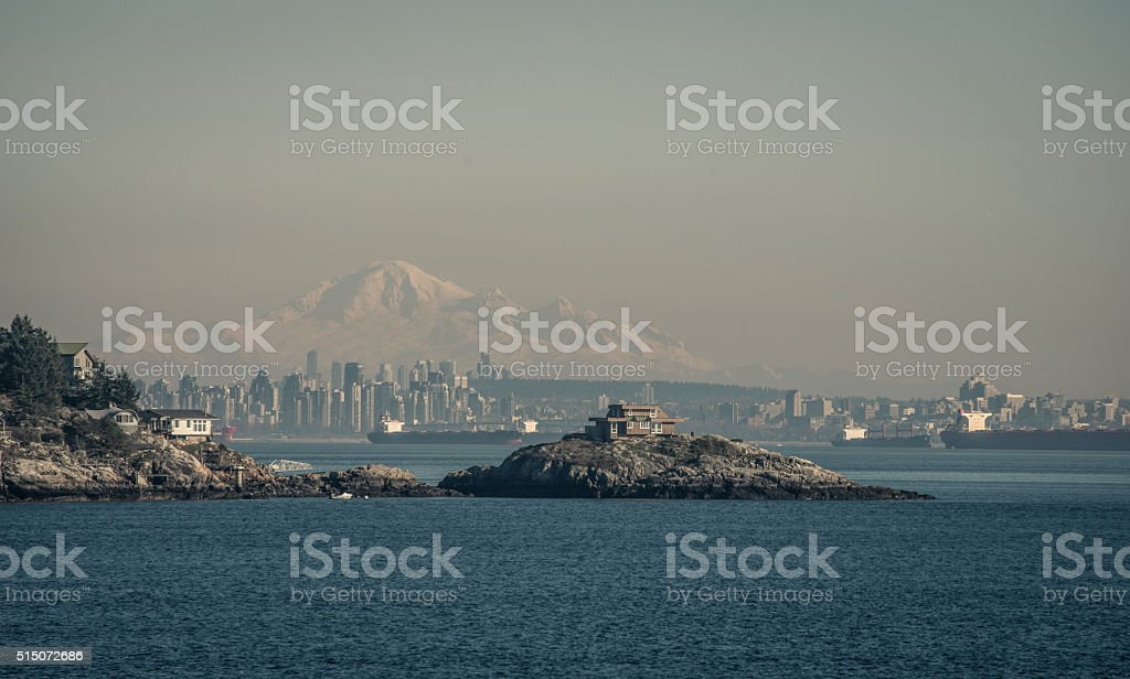 view over vancouver an mt baker stock photo