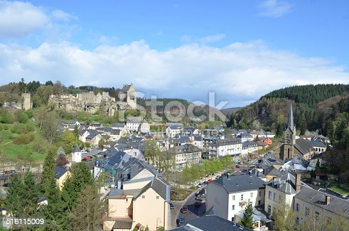 View over village Larochette in Luxembourg famous for ruins of medieval castle.