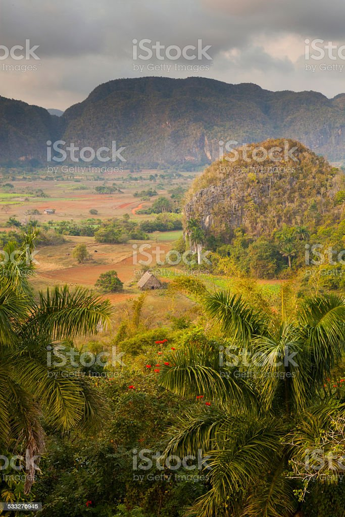 View over Vinales valley in Cuba stock photo
