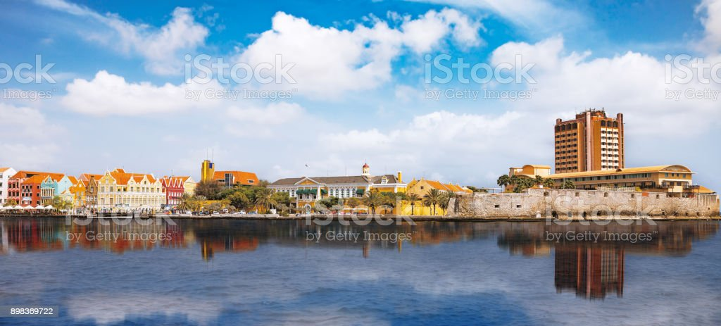 View over Willemstad. Curacao is the main island of the Netherlands Antilles, also known as the ABC islands including Aruba, Bonaire and Curacao. stock photo