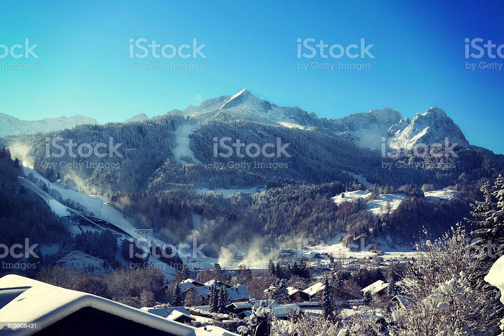 View over wintry Garmisch-Partenkirchen stock photo