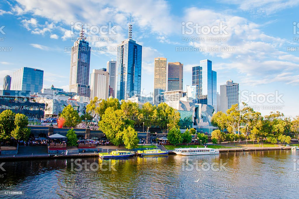 View over Yarra River and City Skyscrapers in Melbourne, Australia stock photo