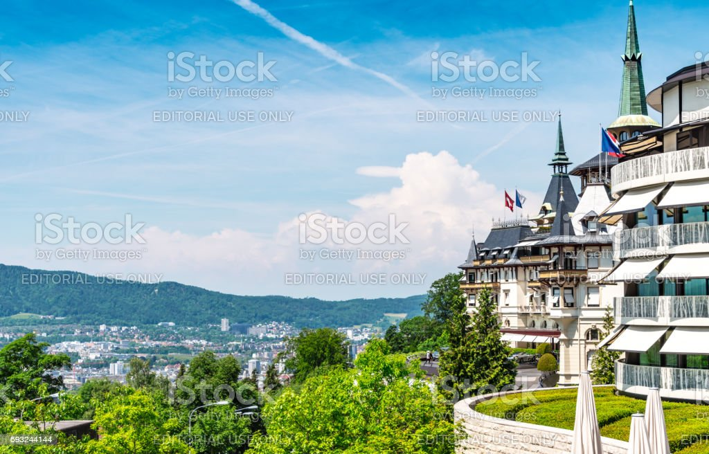 View over Zurich from the front of the Dolder Grand, historic hotel in Zurich stock photo