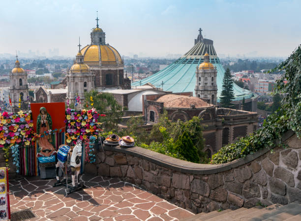 View Overlooking Rooftops at Our Lady of Guadalupe in Mexico City stock photo