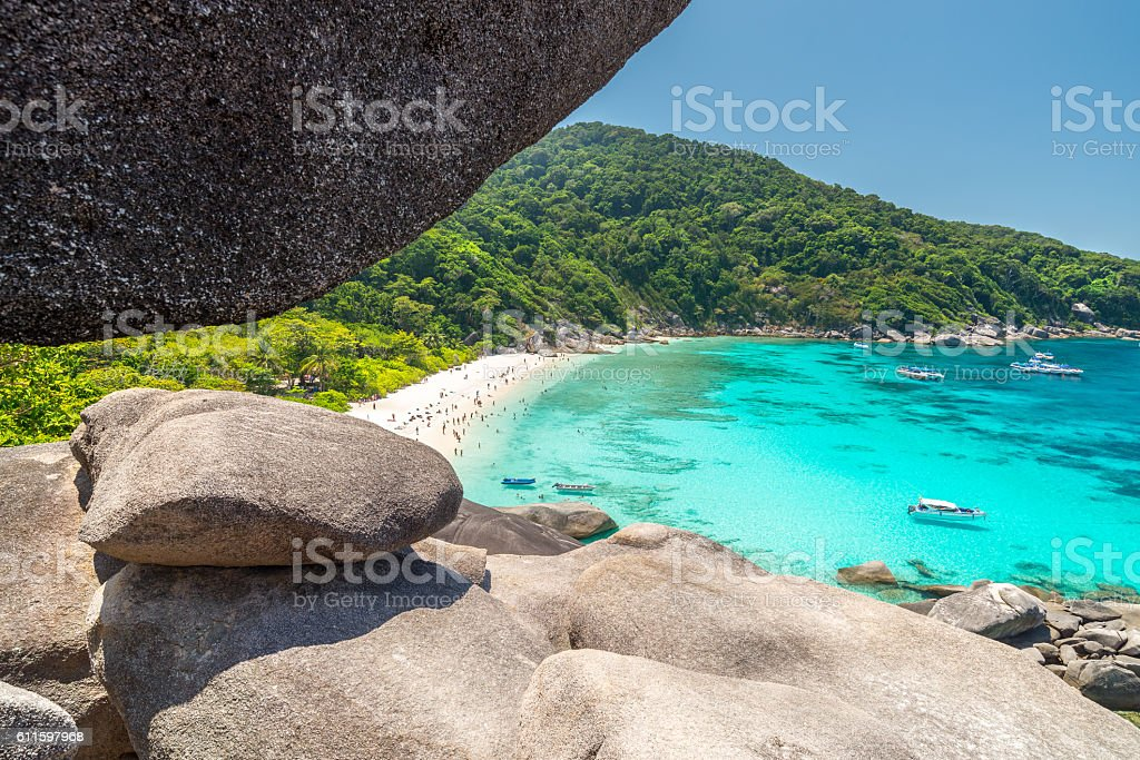 View point at Donald Duck Bay at Koh Similan Island stock photo