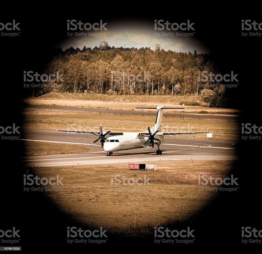 view point from binocular in the airport royalty-free stock photo