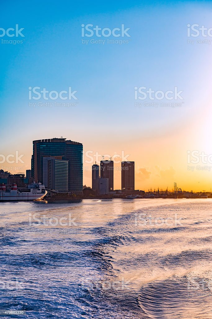 View Port of Spain Trinidad and Tobago waterfront from sea stock photo