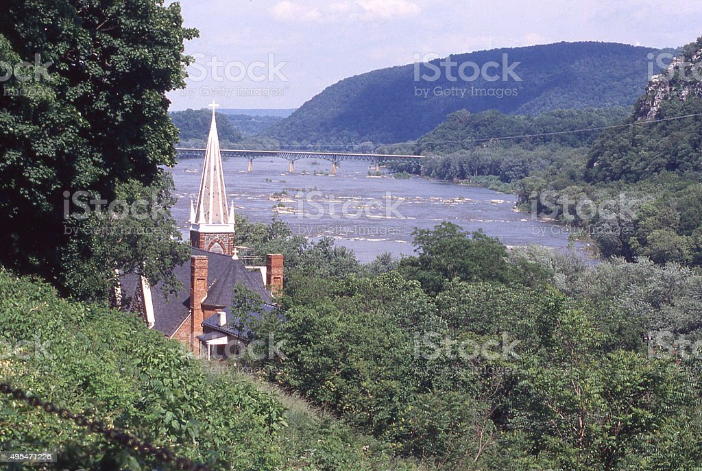 View Potomac River hilltop Harper's Ferry West Virginia Maryland Virginia stock photo