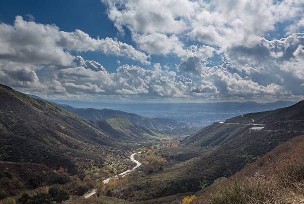 View San Bernadino Rim of World Highway View down valley towards San Bernadino in California from Route 18 Rim of the World Highway san bernardino california stock pictures, royalty-free photos & images
