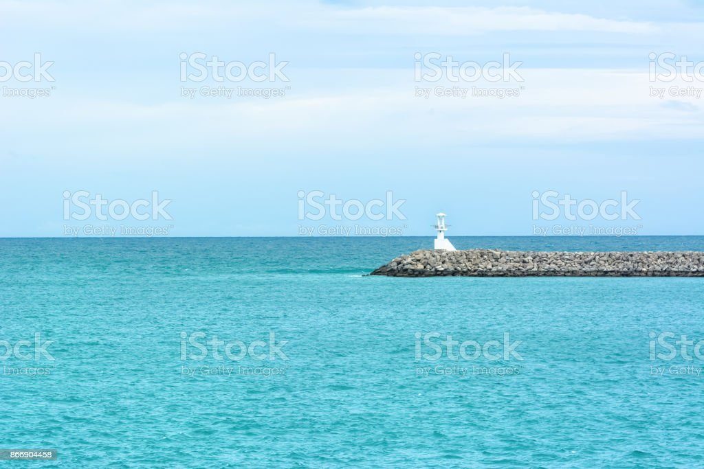 View seascape wit Lighthouse and blue sky stock photo