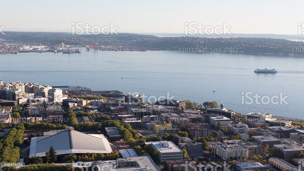 View Seattle Waterfront Key Arena, Elliot Bay, Washington State Ferry stock photo