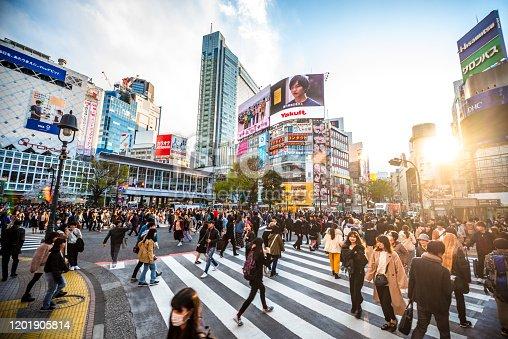 View Shibuya Crossing at sunset Tokyo 2020 Japan