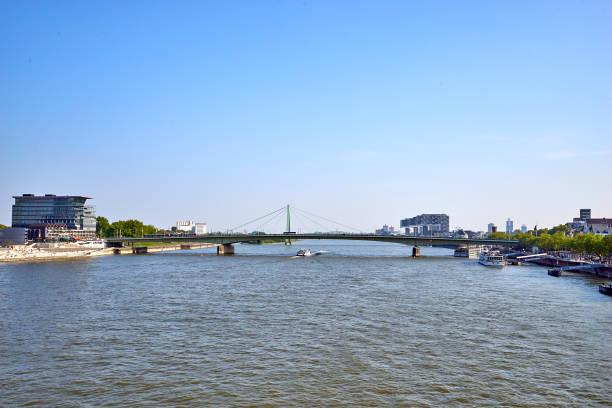 View south from Hohenzollern Bridge towards Kranhaeuser stock photo