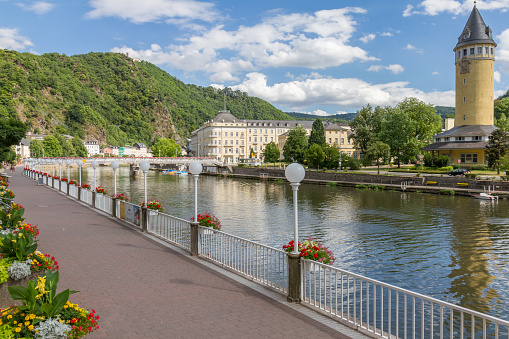 View spa town Bad Ems river Lahn in Germany