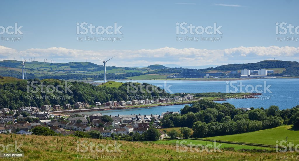 View taken from inner road Millport Isle of Cumbrae stock photo