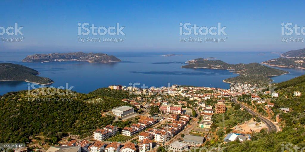Güzellik Kaş, Antalya şehir görüntülemek stok fotoğrafı