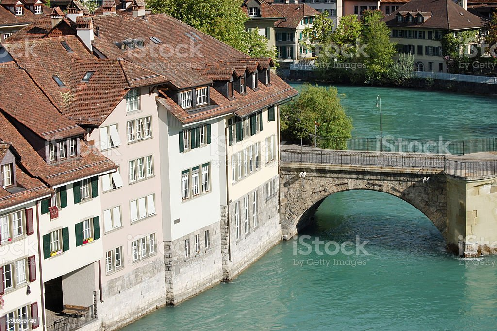 View the old city of Berne on bridge in Switzerland royalty-free stock photo