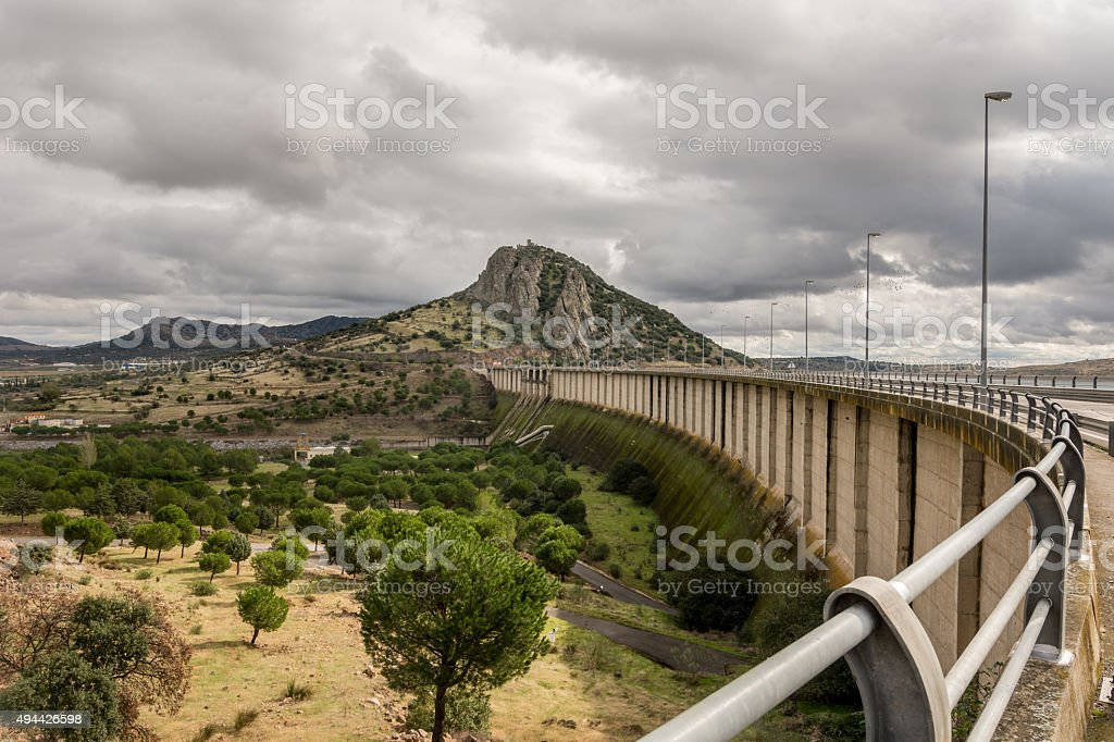 view the wall of a hydroelectric dam Alange (Spain) stock photo