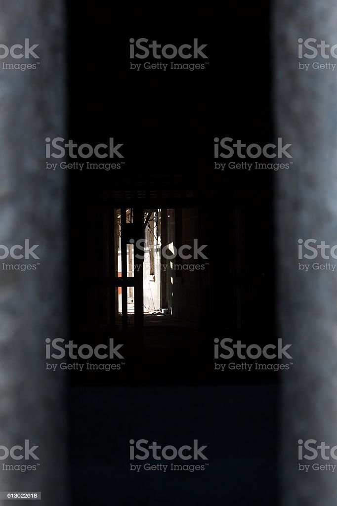 View Through a Fort Window stock photo