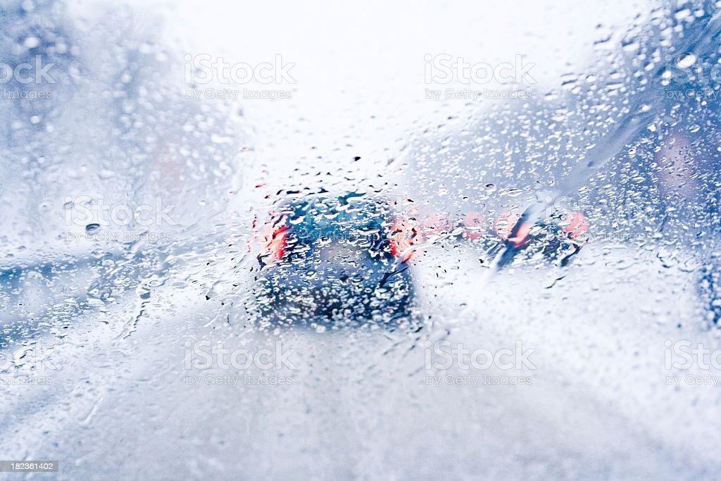 view through a rainy window on freeway royalty-free stock photo