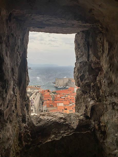 View through a stone window Old Town Dubrovnik Croatia stock photo