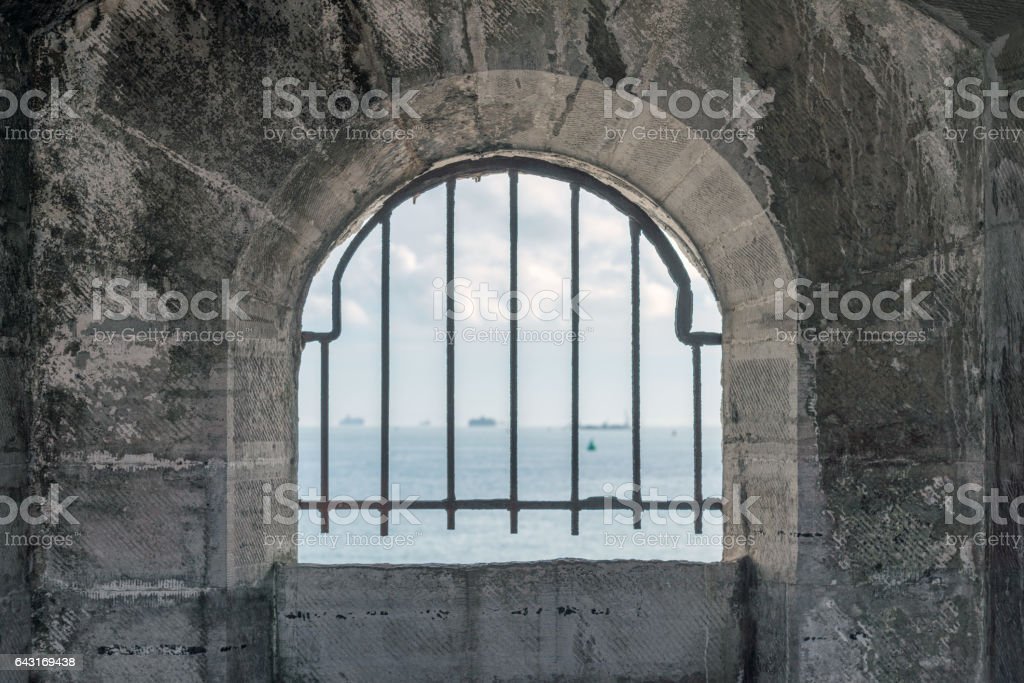 View through a window of an Old battery fort in Portsmouth stock photo