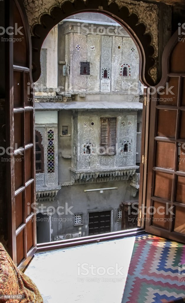 View through a window to a patio, Udaipur stock photo