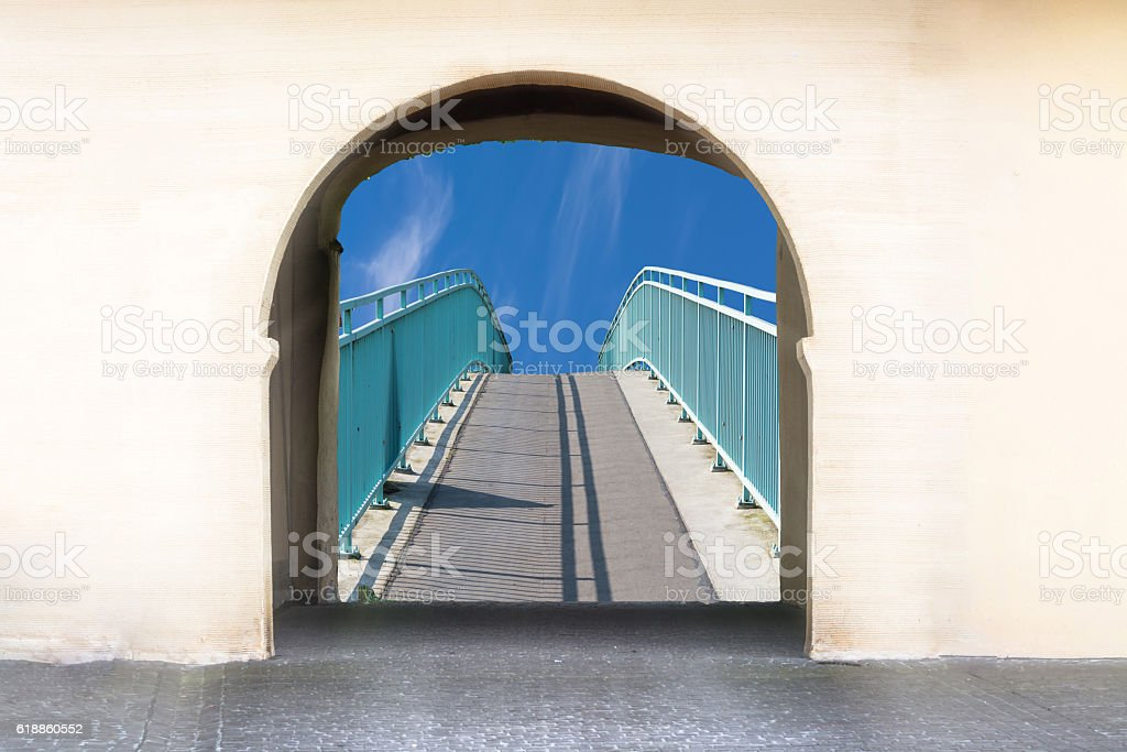 View through an archway stock photo