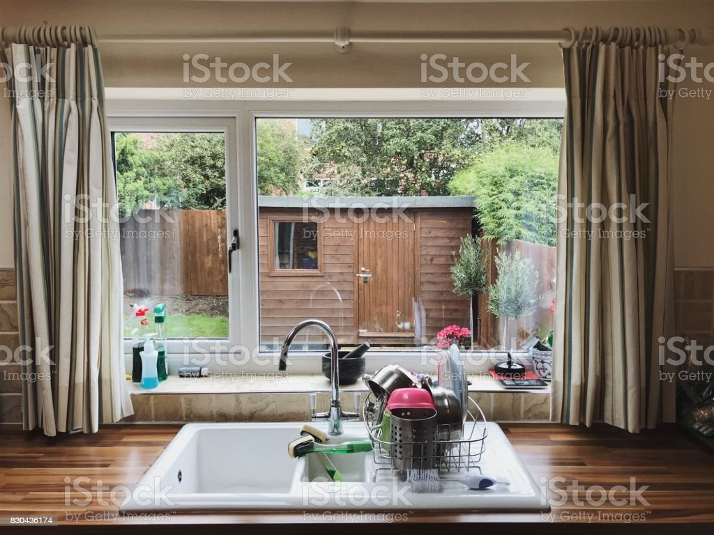 View Through an English Kitchen Window stock photo