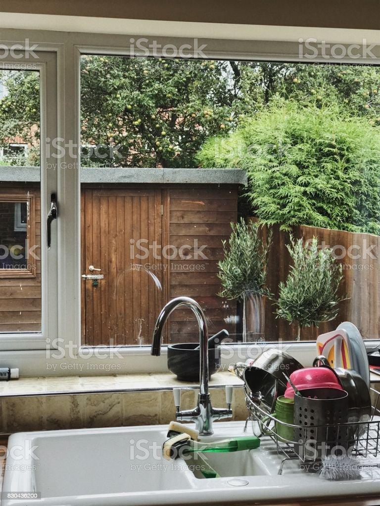 View Through an English Kitchen Window stock photo