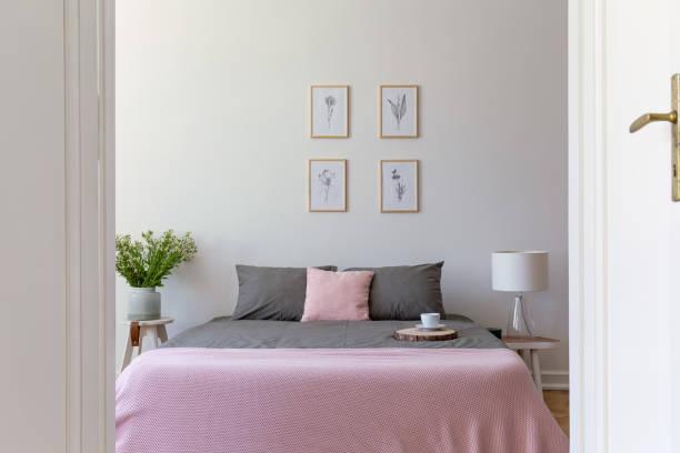 ein blick durch eine offene tür in einem pastell schlafzimmer innenraum mit ashy bettwäsche und rosigen decke in einem doppelbett. natur-illustrationen an der wand. echtes foto. - cottage schlafzimmer stock-fotos und bilder