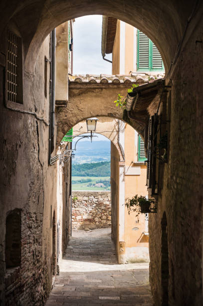 View through archway in italy stock photo