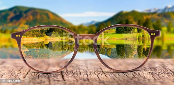 View through eyeglasses to nature