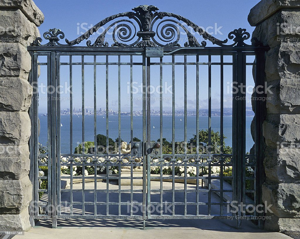 View  through gate out into the San Francisco Bay Area stock photo