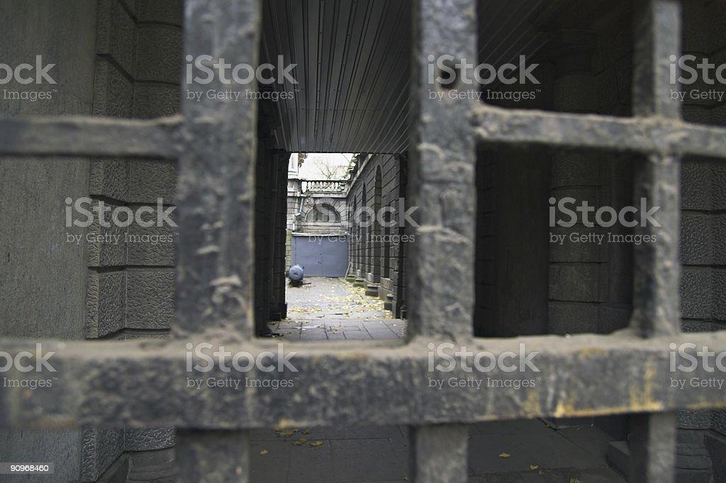 View through gates stock photo
