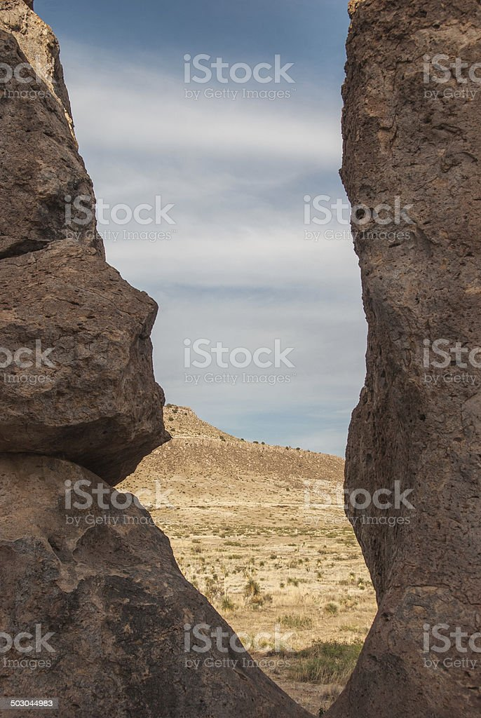 View Through Giant Boulders at City of Rocks royalty-free stock photo