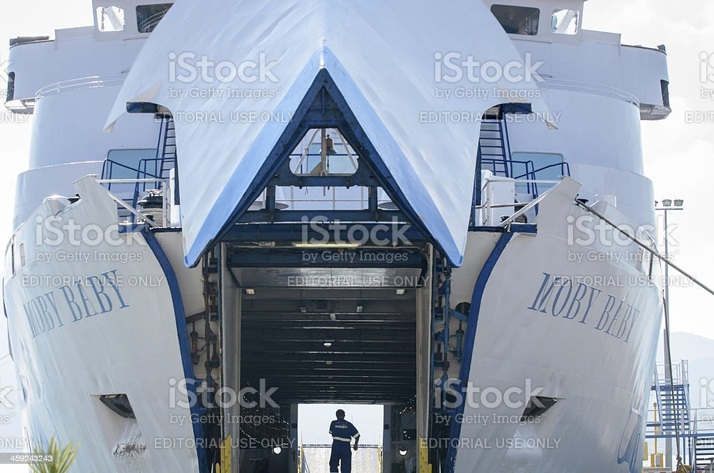 view through Moby baby Ferry boat royalty-free stock photo