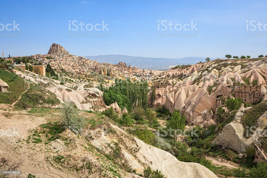 View through Pigeon Valley to the city of Uchisar, Cappadocia royalty-free stock photo
