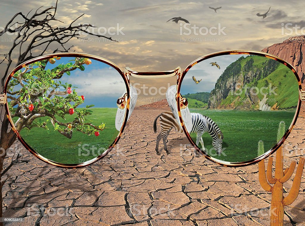 View through rose-colored glasses stock photo
