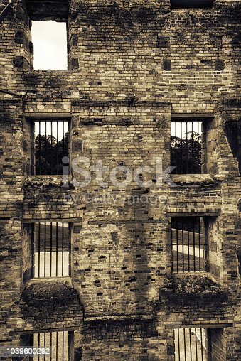 View through the jail cell windows of the Penitentiary, at the Port Arthur Historic Site. Port Arthur, Tasmania, Australia
