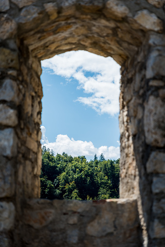 View Through the Window of an Old Castle Ruins