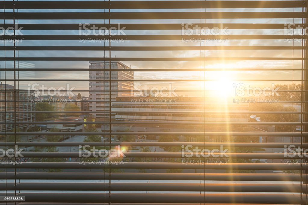 view through the window of a hotel room in amsterdam stock photo