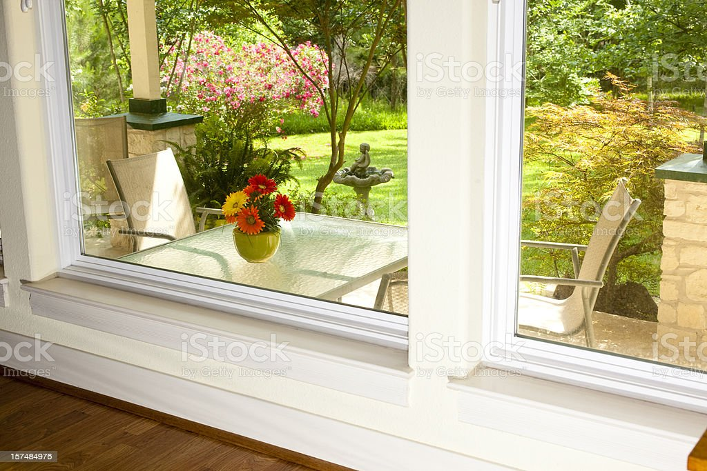 View through the window of porch and lawn. stock photo