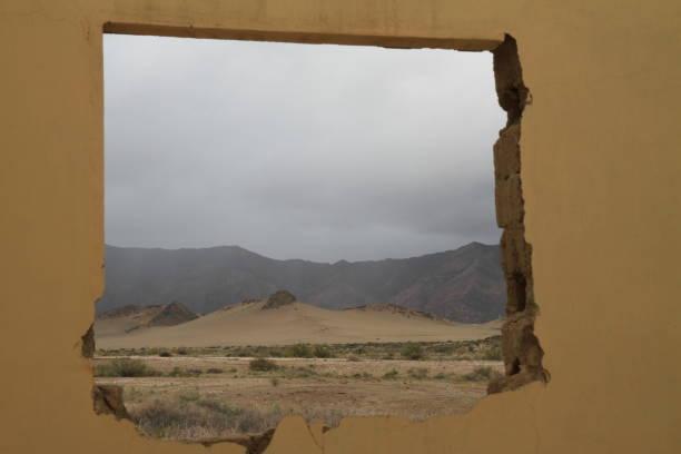 View through window at Lorelei mine ruines stock photo