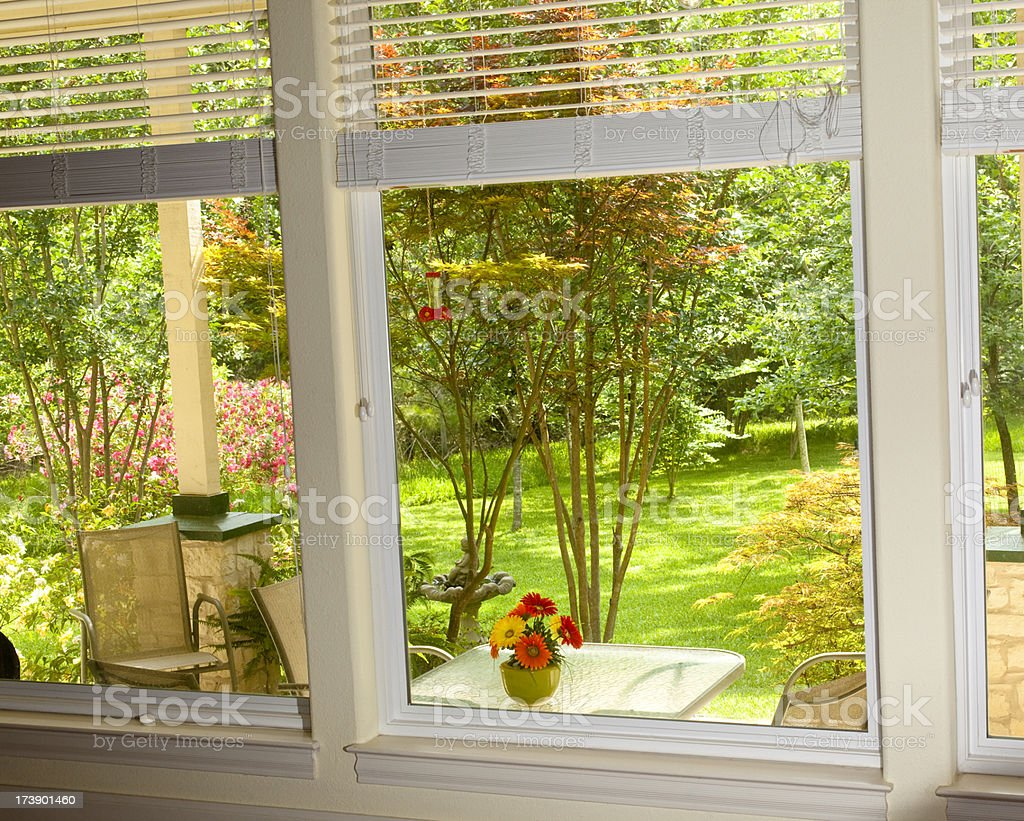 View Through Window Back Porch And Lawn Spring Summer Yard Stock Photo Amp More Pictures Of