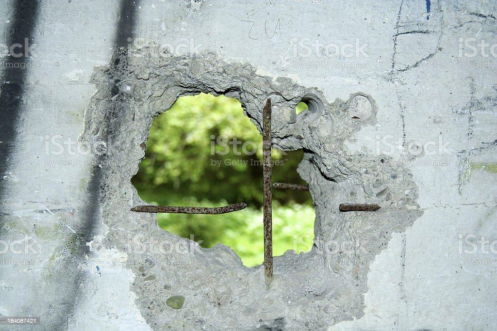 View thru a concrete wall royalty-free stock photo