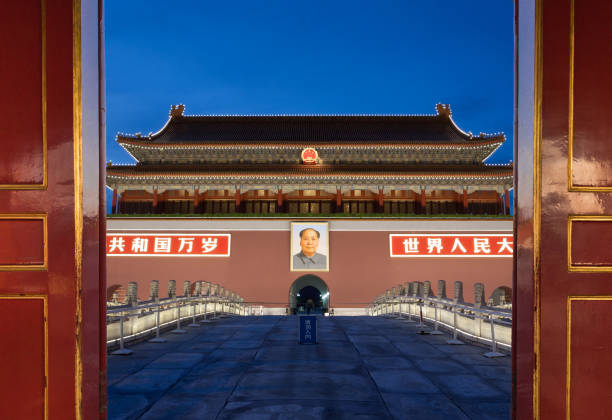 View Tiananmen from open gate View Tiananmen from open gate mao tse tung stock pictures, royalty-free photos & images
